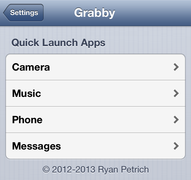 Grabby-Settings